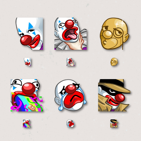 Thicko the Clown Emote art by Kevin Warren
