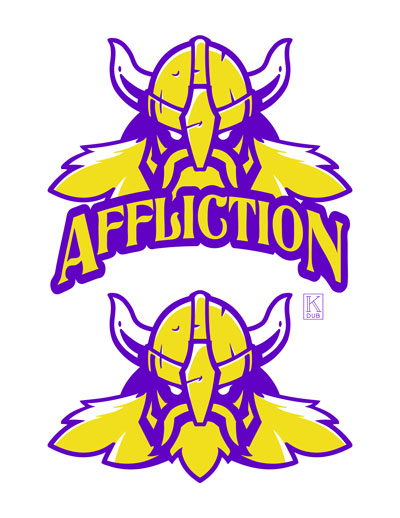 "Affliction logo and Viking ""mascot"" head for a client's Twitch channel"