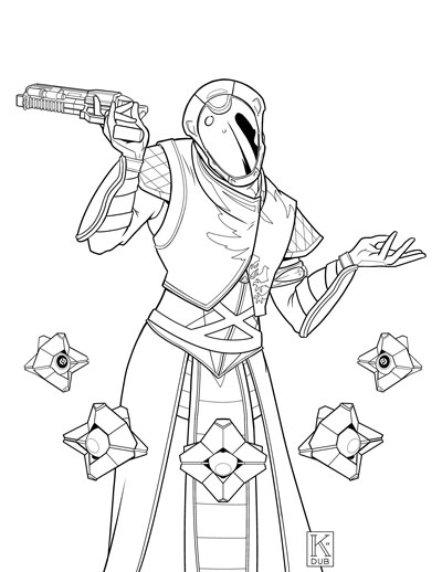 Black and white line art commission of a client's Warlock from Destiny 2