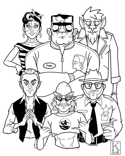 Black and white line art character designs for an unproduced project featuring classic movie monsters